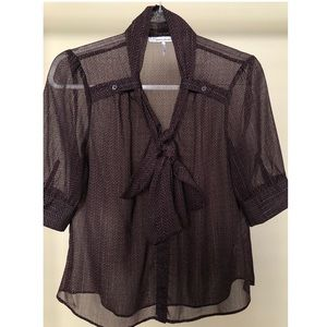 French Connection sheer tie blouse